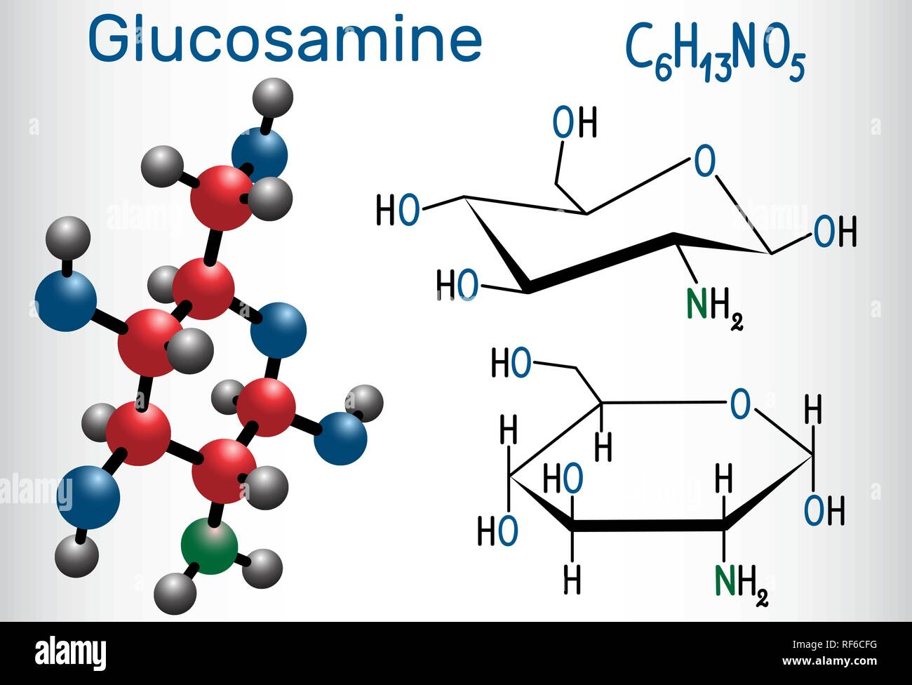Glucosamine molecule, is one of the most abundant monosaccharides, is dietary supplement. Structural chemical formula and molecule model. Vector illus Stock Vector