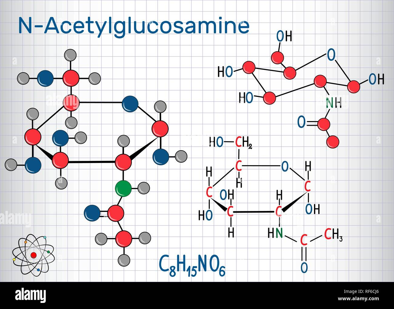 N-Acetylglucosamine (NAG) molecule, is the monomeric unit of the chitin and polymerized with glucuronic acid, it forms hyaluronic acid. Sheet of paper Stock Vector