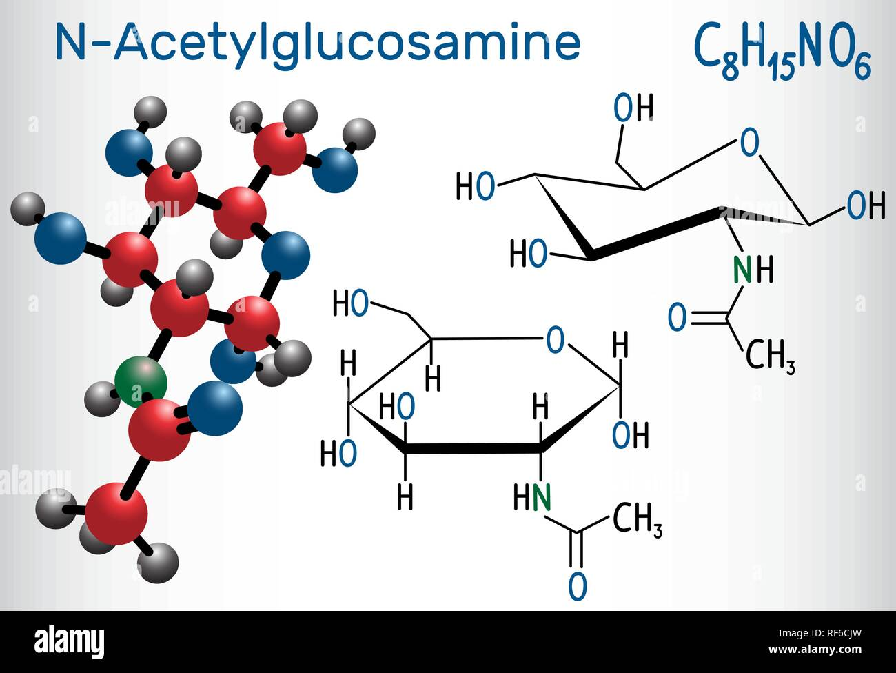 N-Acetylglucosamine (NAG) molecule, is the monomeric unit of the chitin and polymerized with glucuronic acid, it forms hyaluronic acid. Structural che Stock Vector