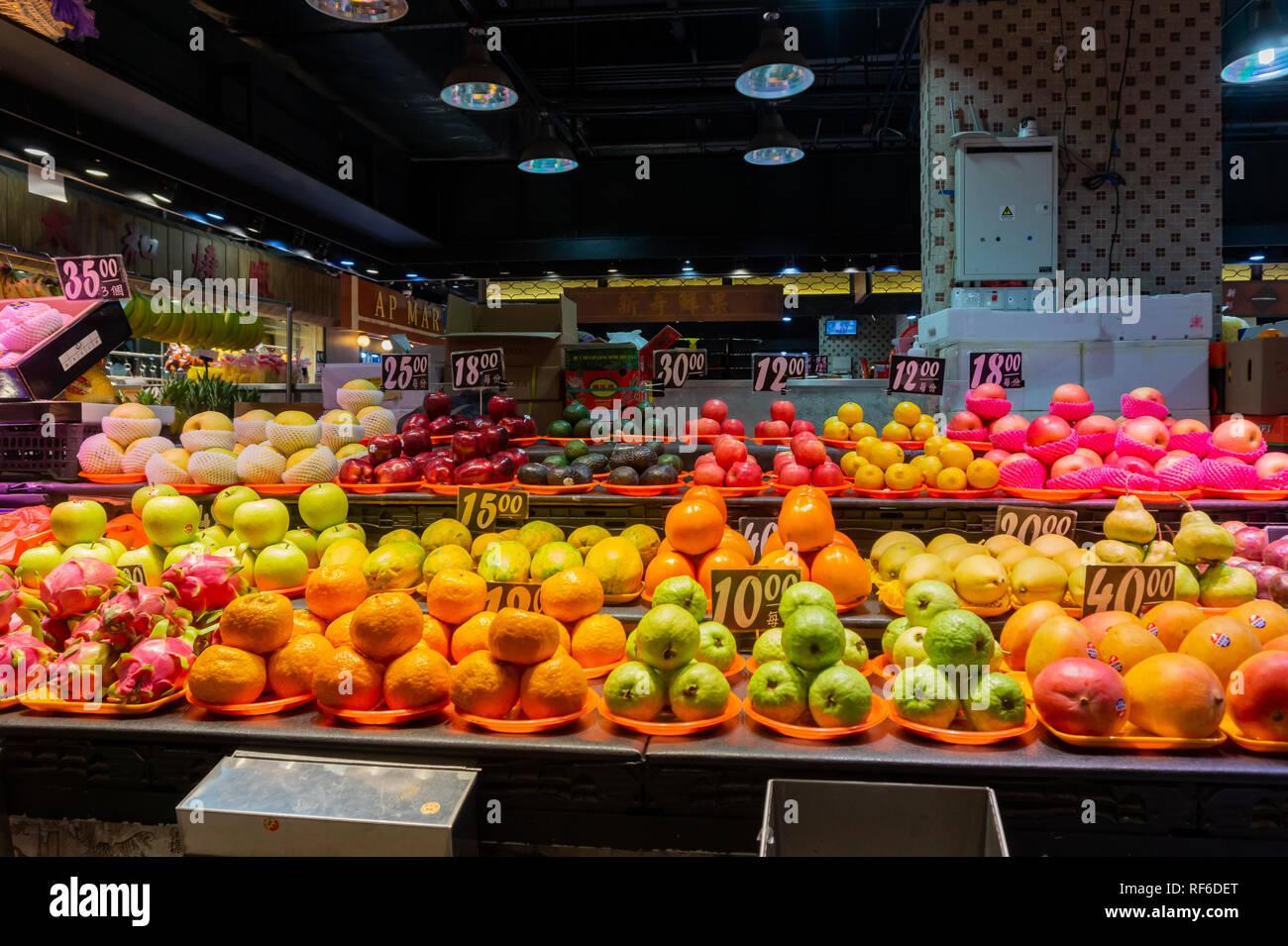 Hong Kong, DEC 31: Many kinds of fruits selling in the Hong Kong Market - Yat Tung on DEC 31, 2018 at Hong Kong - Stock Image