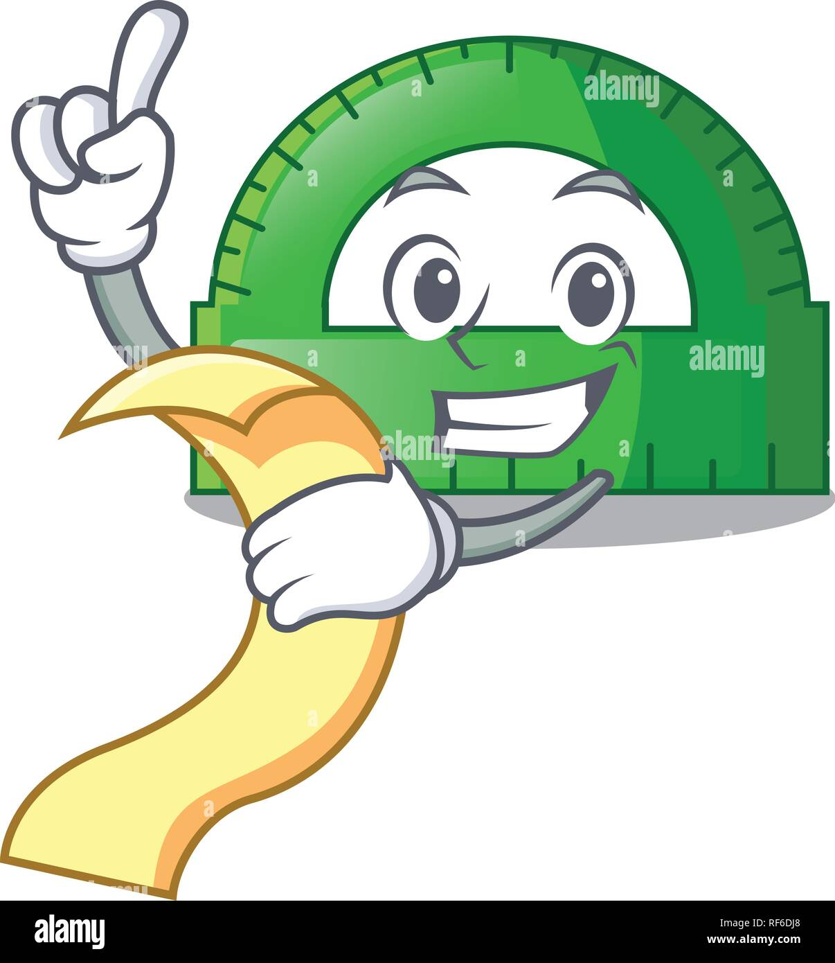 With menu protractor on a the mascot table - Stock Image