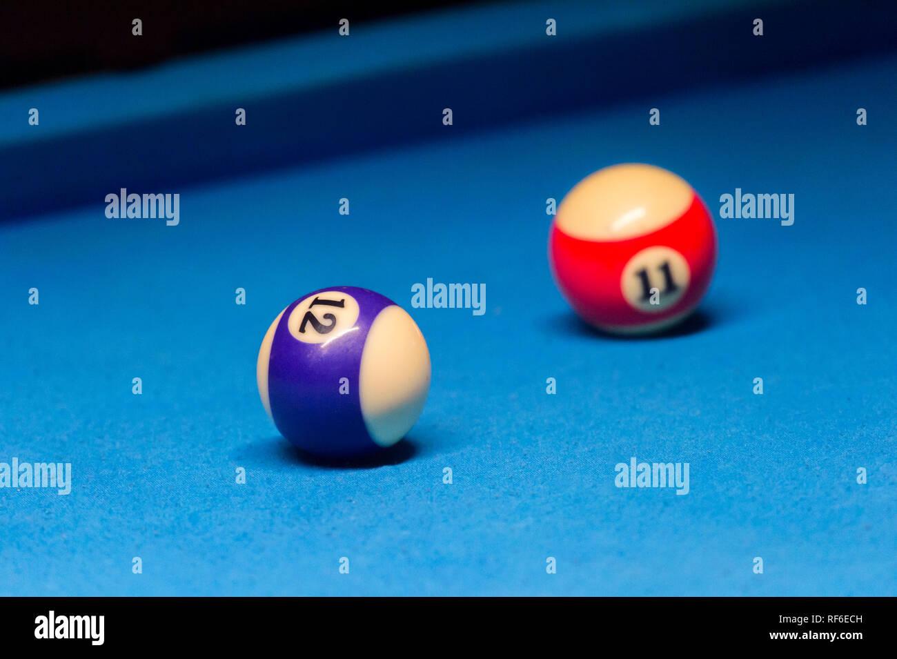 Colorful Billiards Balls. Billiard Ball At Blue Table. Colorful American  Pool Snooker Balls Background. American Billiard In Bar. Close Up Billiard  Ba