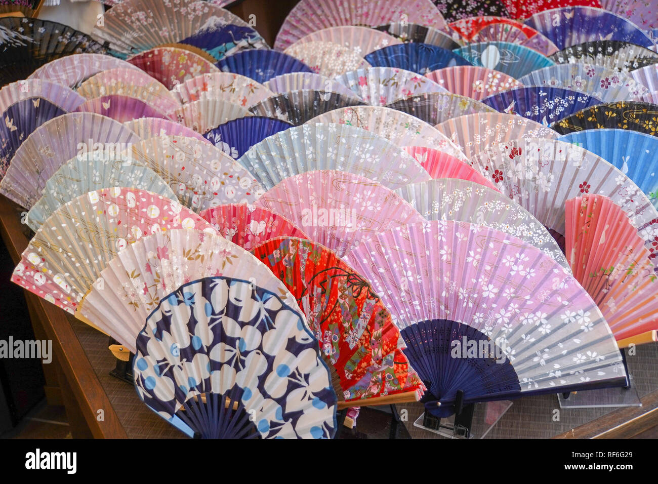 Japanese rice paper Fans on display in a Fan Shop. Photographed in Japan, Kyoto, - Stock Image