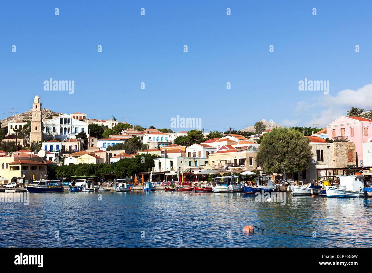 Halki, Chalki - View of Emporio village on Aegean sea. Dodecanese Islands, Greece - Stock Image