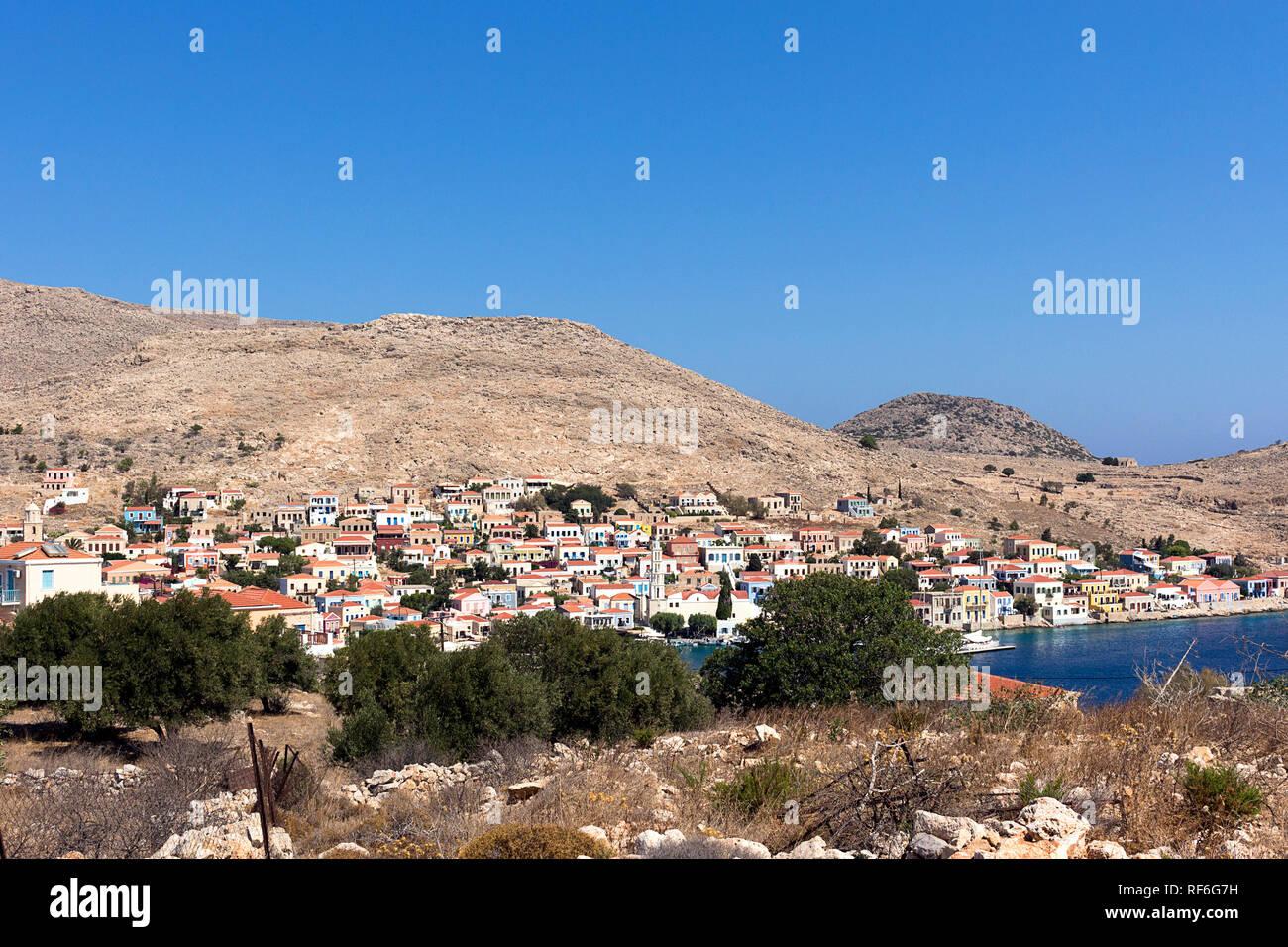 Halki island, panoramic view of Emborios. Aegean sea, Dodecanese Islands, Greece - Stock Image