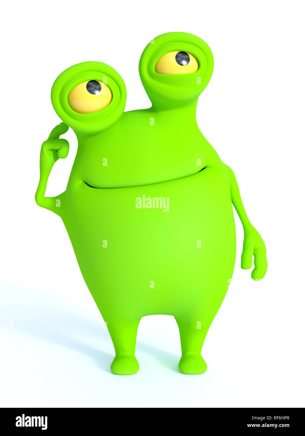 A cute charming green cartoon monster thinking about something. White background. - Stock Image