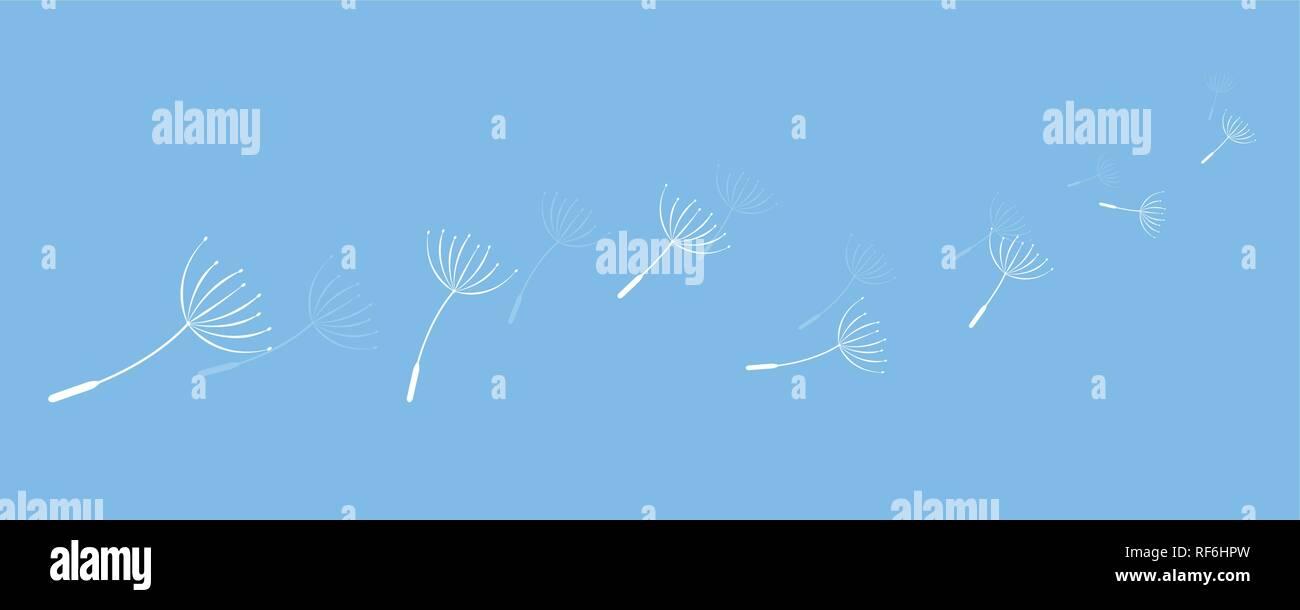 dandelion seeds flying in the wind on blue background vector illustration EPS10 - Stock Vector