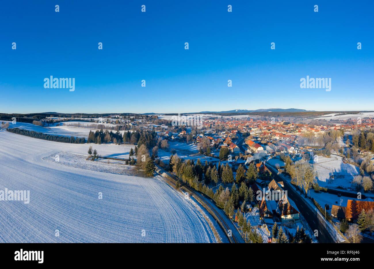 Luftbild Hasselfelde Stadt Oberharz am Brocken - Stock Image