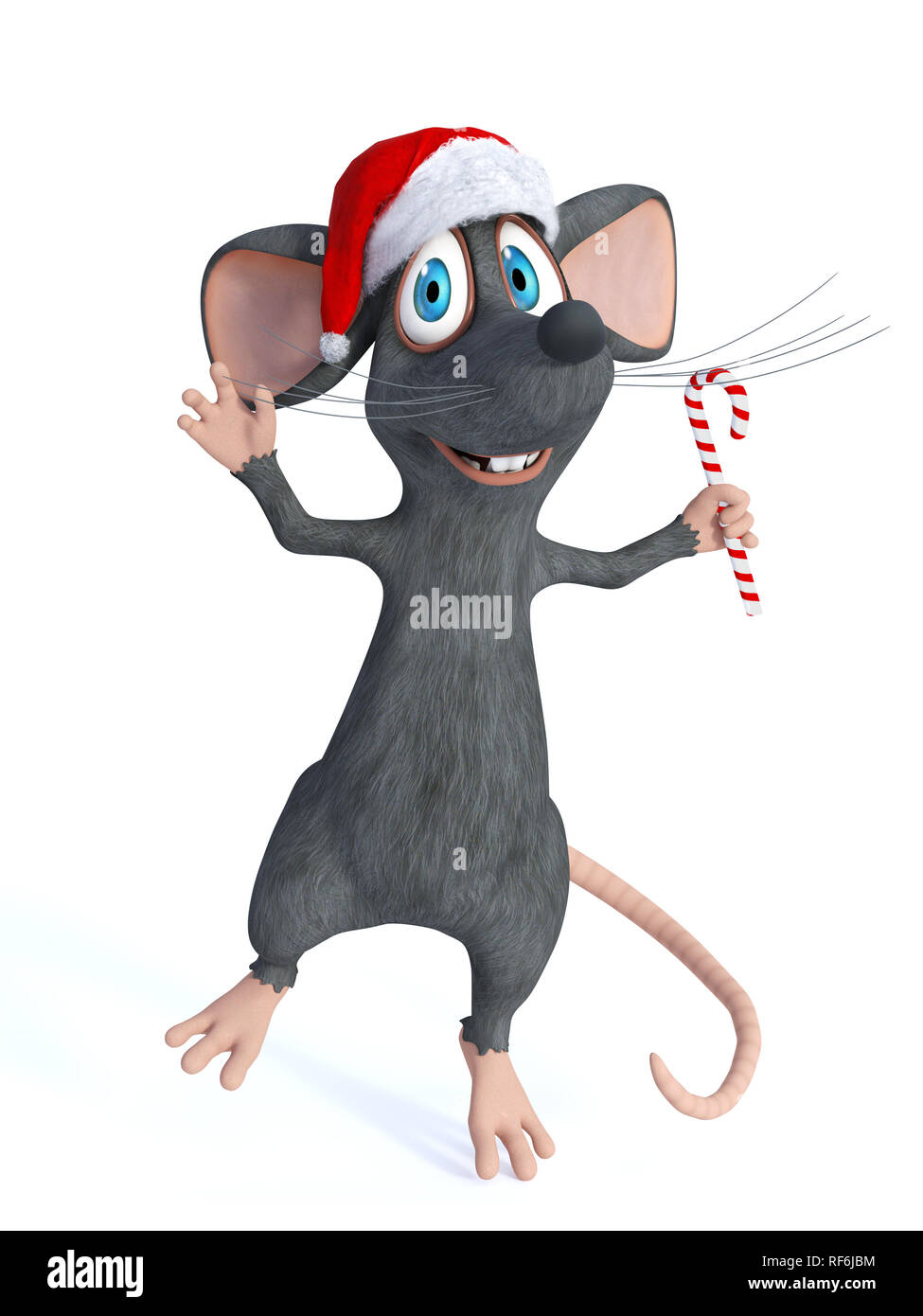 A cute smiling cartoon mouse wearing a Santa hat and jumping for joy with a candy cane in his hand. White background. - Stock Image