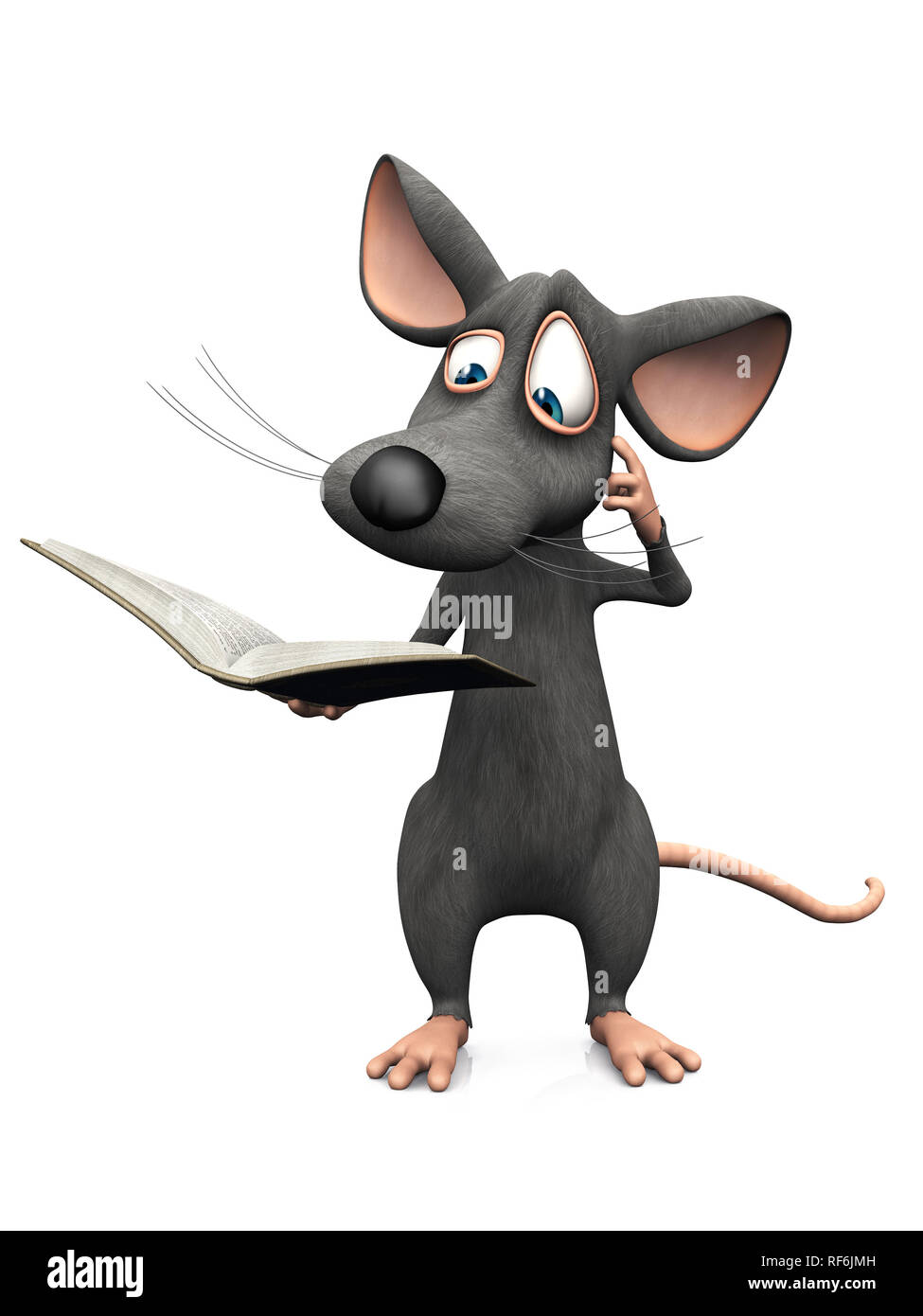 A cute cartoon mouse reading a book and looking very confused. White background. - Stock Image