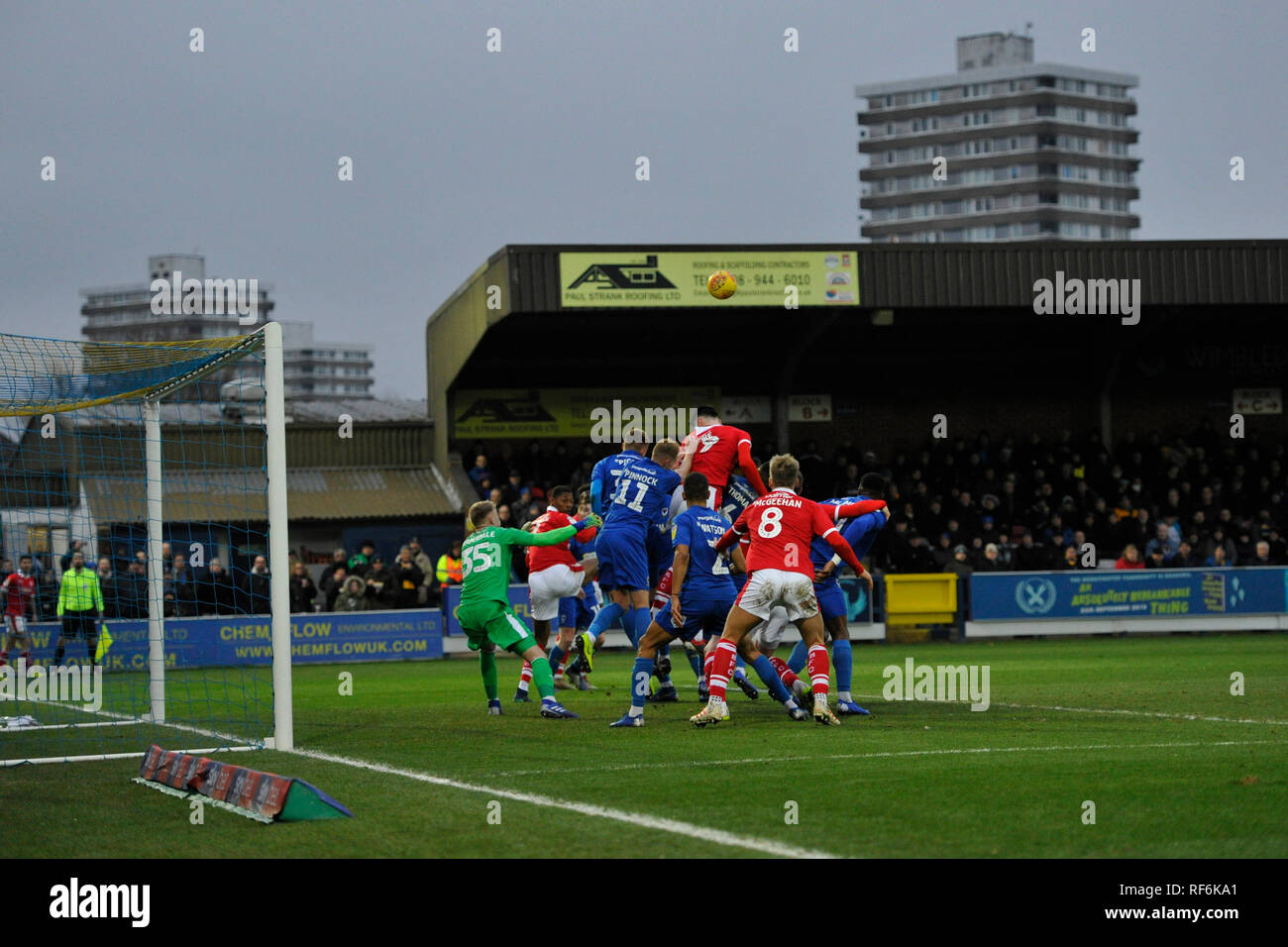 Goalmouth action from the League One match between  AFC Wimbledon and Barnsley at the Cherry Red Records Stadium . 19 January 2019 Editorial use only. No merchandising. For Football images FA and Premier League restrictions apply inc. no internet/mobile usage without FAPL license - for details contact Football Dataco - Stock Image