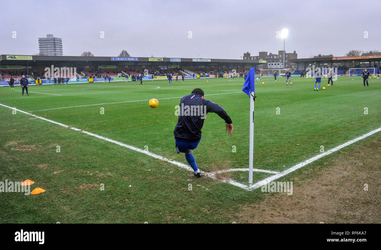 The Cherry Reds Records Stadium before the League One match between  AFC Wimbledon and Barnsley at the Cherry Red Records Stadium . 19 January 2019 Editorial use only. No merchandising. For Football images FA and Premier League restrictions apply inc. no internet/mobile usage without FAPL license - for details contact Football Dataco - Stock Image