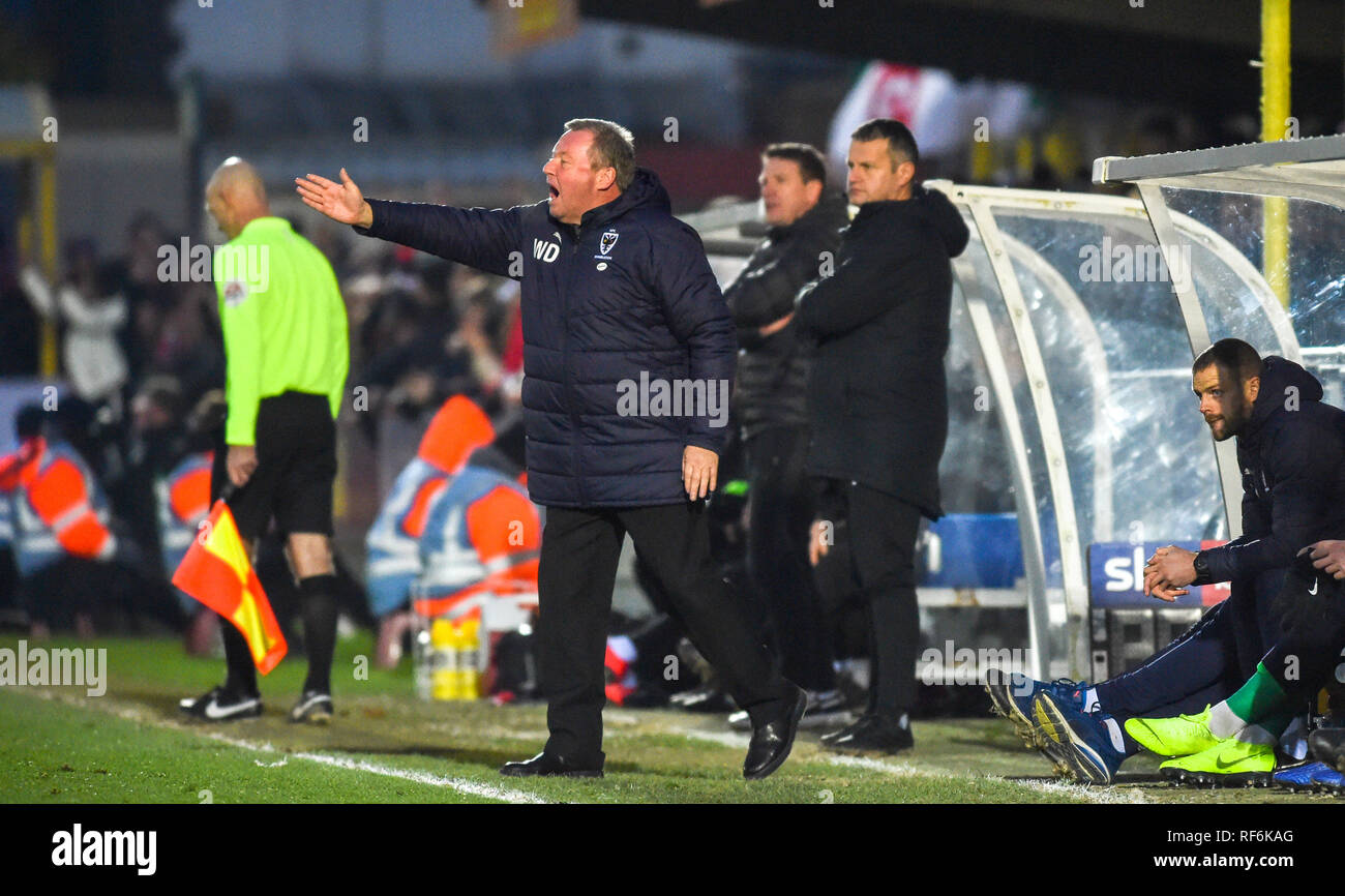 AFC Wimbledon manager Wally Downes gets heated on the touchline during the League One match between  AFC Wimbledon and Barnsley at the Cherry Red Records Stadium . 19 January 2019 Editorial use only. No merchandising. For Football images FA and Premier League restrictions apply inc. no internet/mobile usage without FAPL license - for details contact Football Dataco - Stock Image