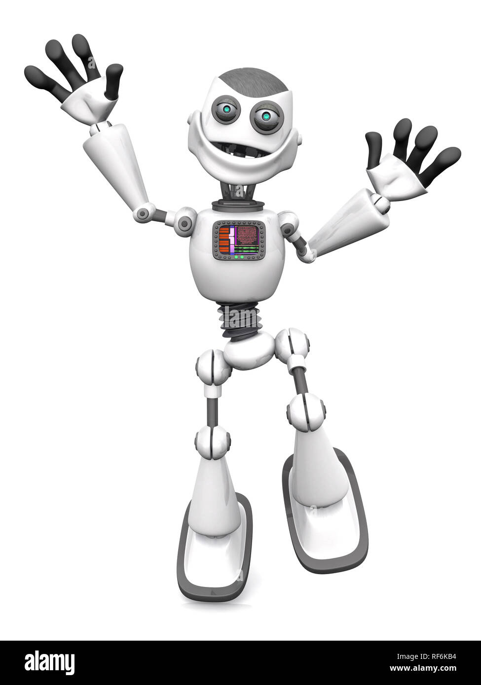 A smiling white cartoon robot jumping for joy. White background. - Stock Image