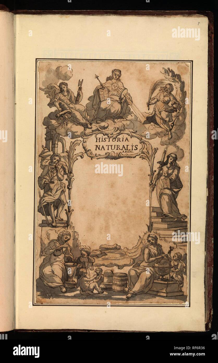 Titelpagina met allegorische omlijsting. Historia Naturalis (title on object). Draughtsman: anonymous. Dating: 1809 - 1814. Place: Southern Netherlands. Measurements: h 328 mm × w 207 mm. Museum: Rijksmuseum, Amsterdam. - Stock Image