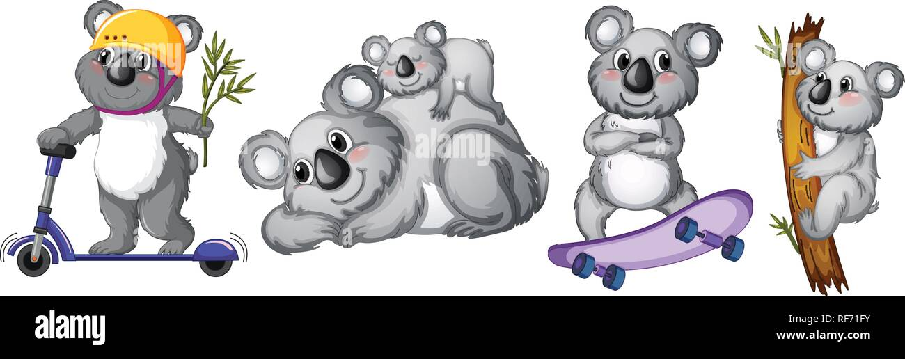 Set of koala bear character illustration - Stock Vector