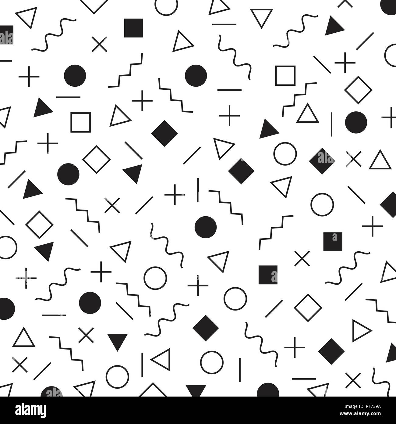 Black and white geometric elements memphis style pattern the