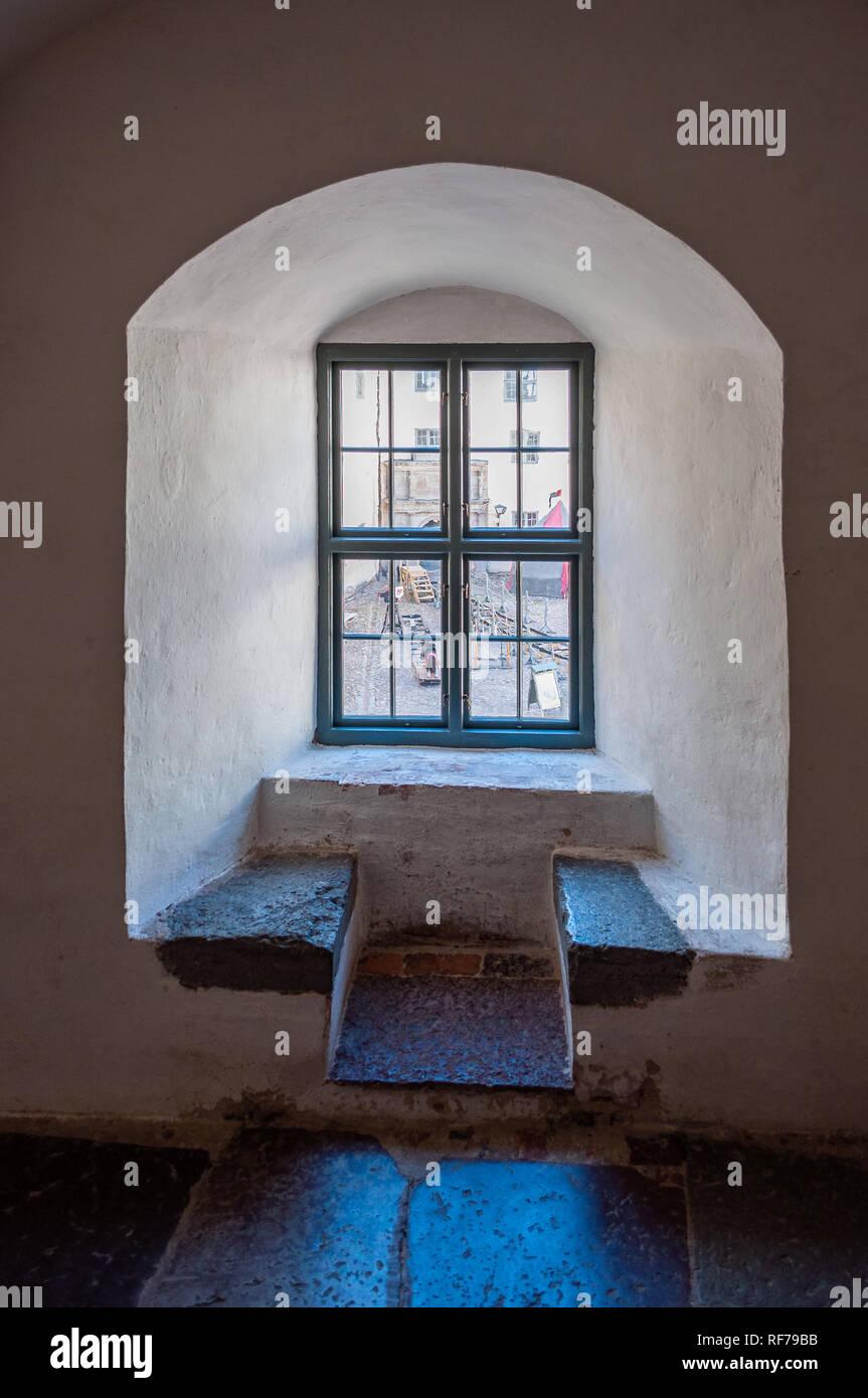 A window in the Kalmar Castle - Stock Image