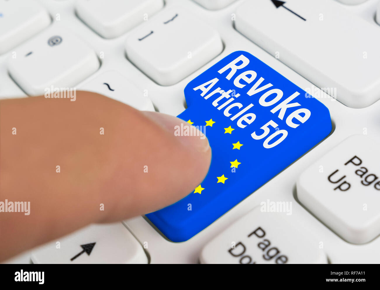 Finger pressing a button on a keyboard to revoke article 50 of the Treaty of Lisbon, delaying or stopping Brexit, meaning the UK wouldn't leave the EU. Stock Photo