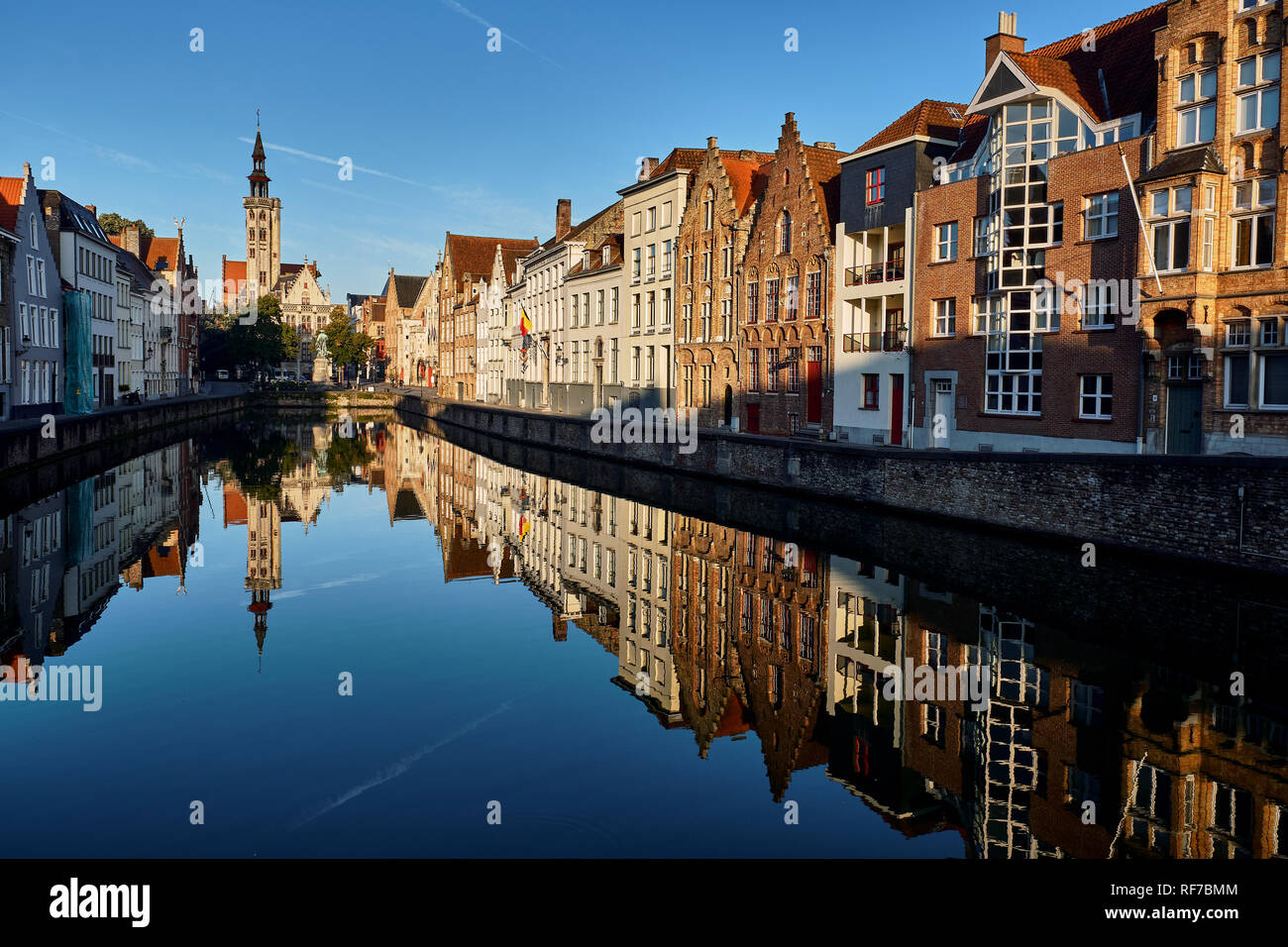 Pictured is the canal at Jan Van Eyck Square Bruges, Belgium - Stock Image