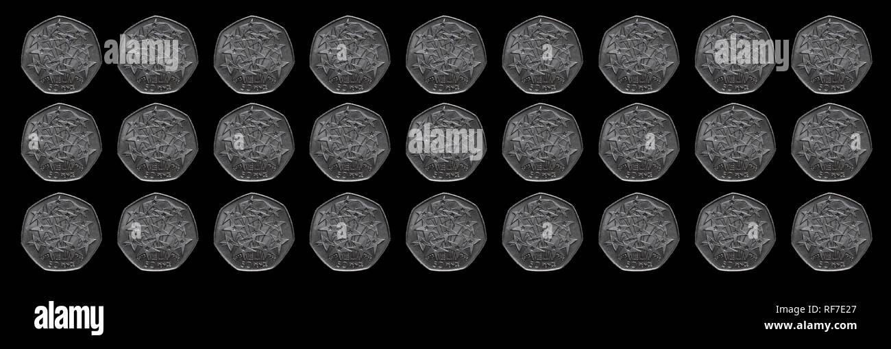 Grid of 27 50 pence coins celebrating the European Union Elections. - Stock Image