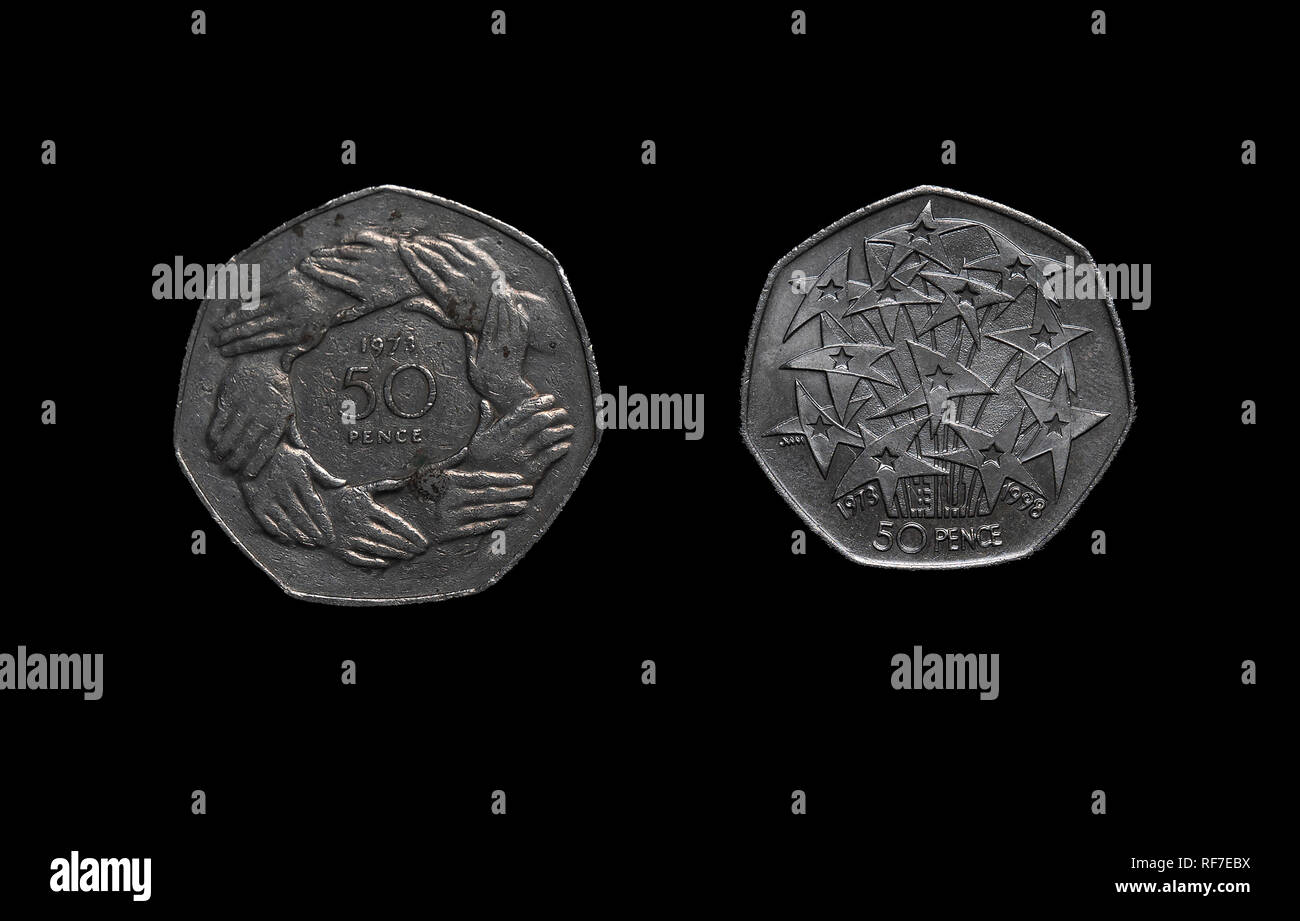 UK commemorative 50 pence coins celebrating the European Union. Stock Photo