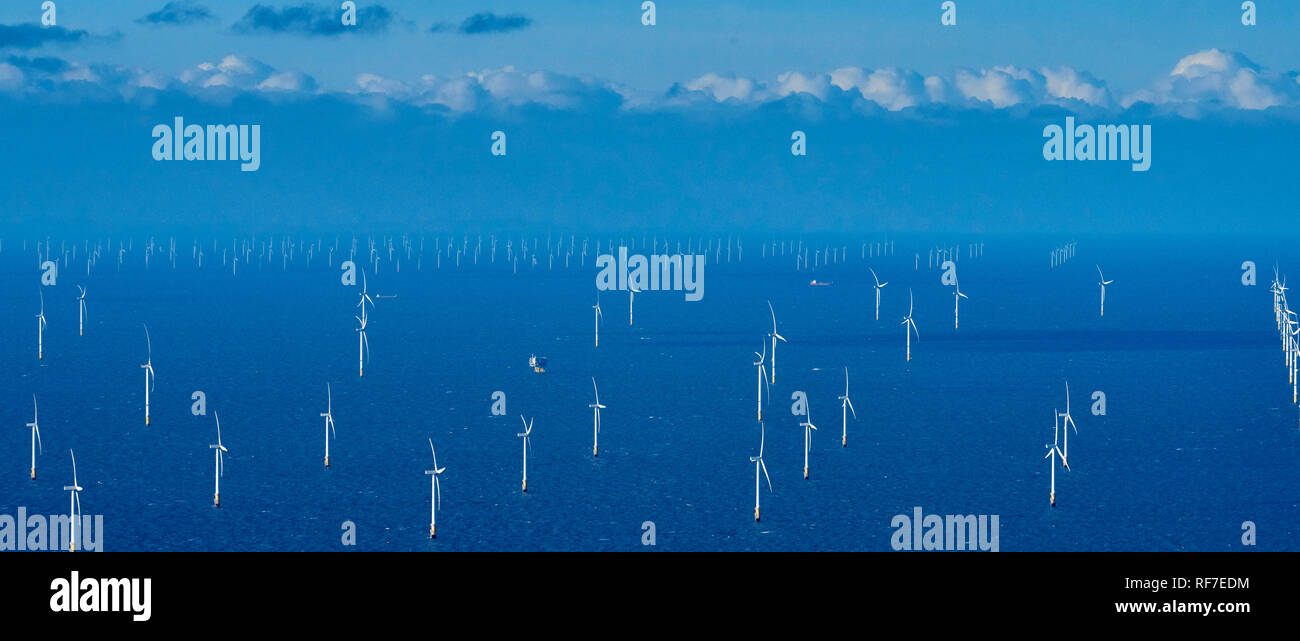 Burbo Bank Offshore Wind Farm, off Liverpool Bay, North West England, UK - Stock Image