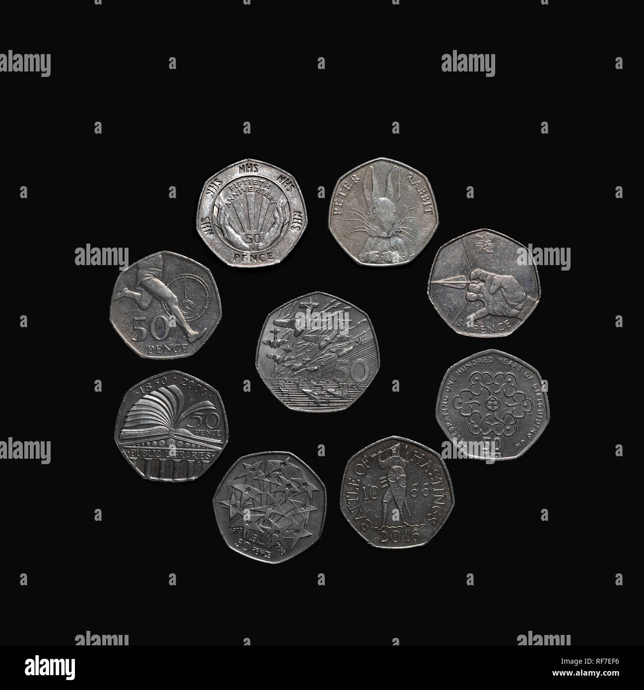 Collection of commemorative UK 50 pence coins. Stock Photo