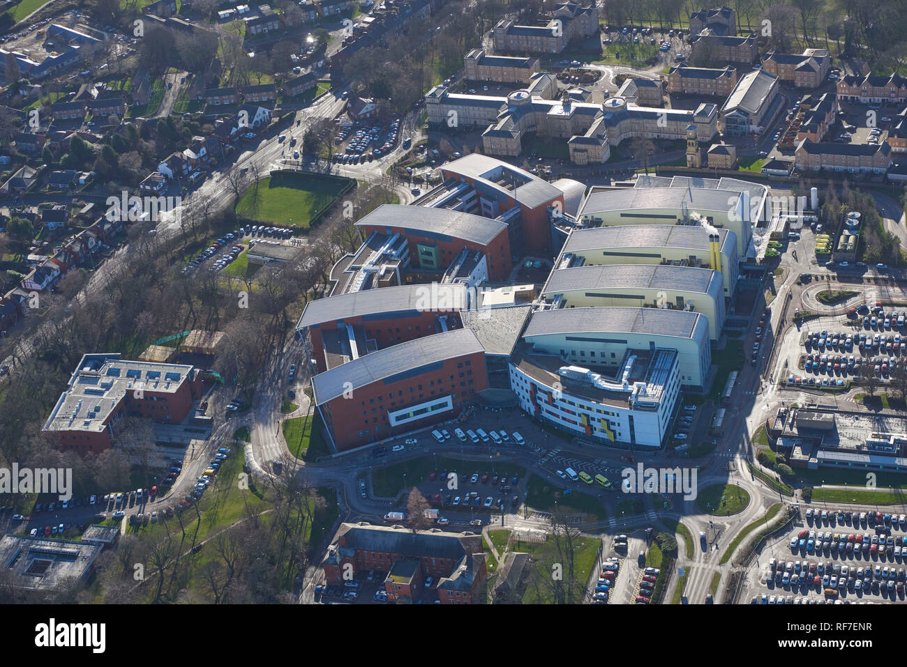 An aerial view of Pinderfields Hospital Wakefield, built under PFI, West Yorkshire, Northern England, UK - Stock Image