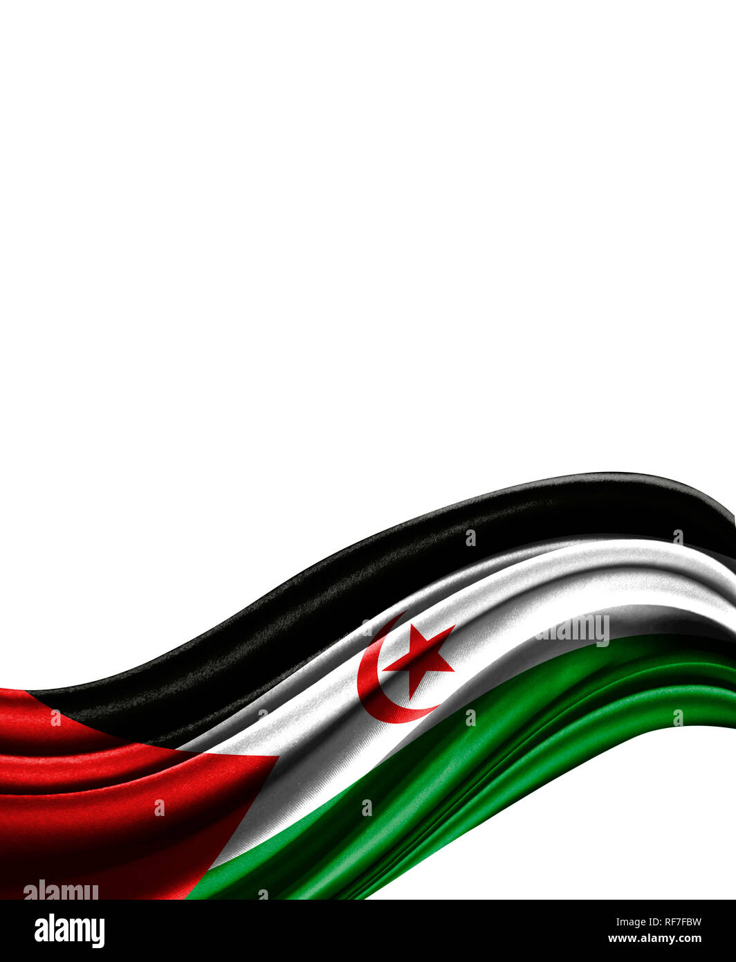 Western Sahara flag on cloth isolated on white background. - Stock Image