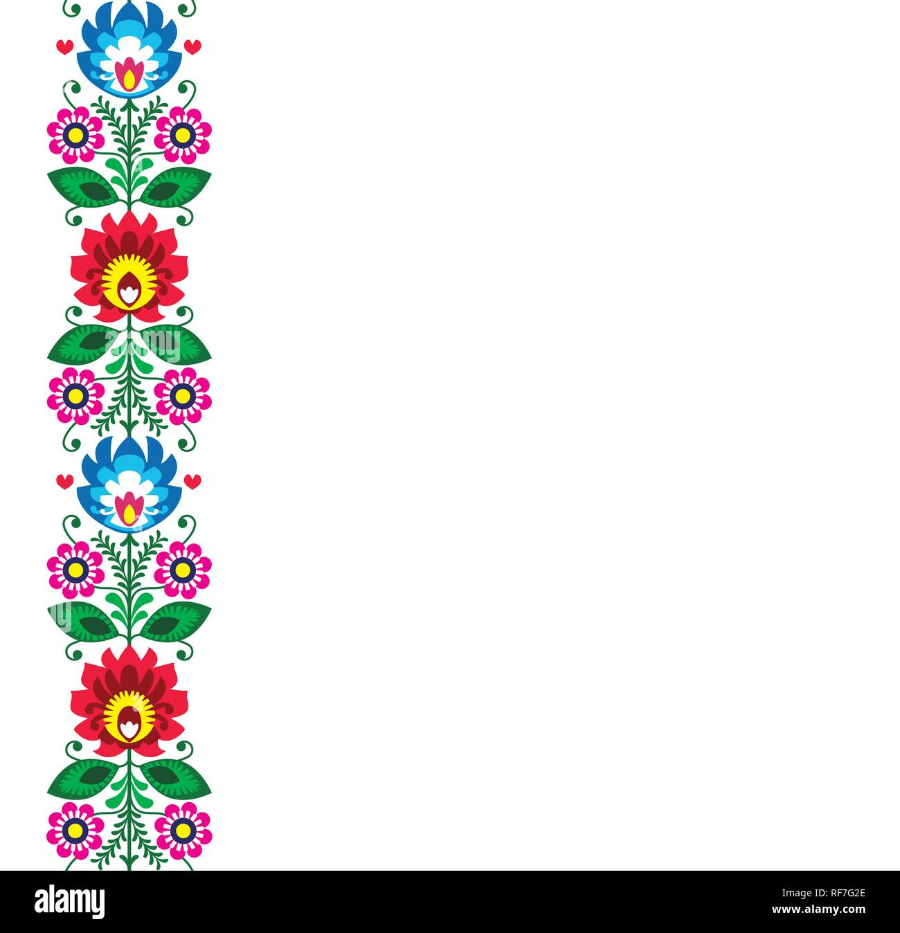 Folk art vector greeting card or wedding invitation - Polish traditional pattern with flowers - Wycinanki Lowickie. Retro floral decoration, Slavic co - Stock Image