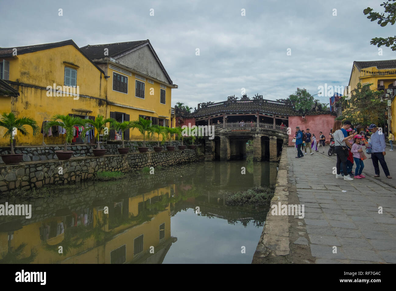 Old Japanese covered wooden bridge in Hoi An, Vietnam. - Stock Image
