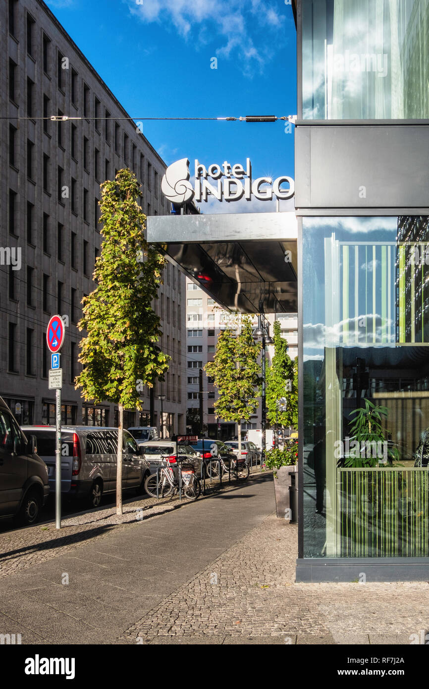 Berlin,Mitte Hotel Indigo is a chain of boutique hotels, part of Inter Continental Hotels Group - Stock Image