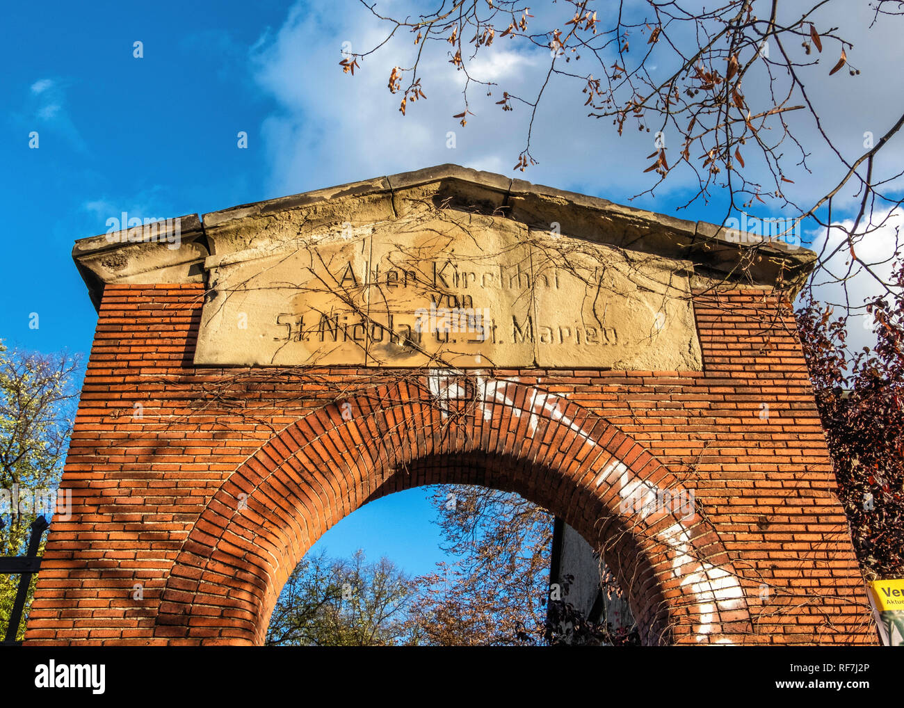 Entrance of Old Churchyard of Saint Nicholas and Saint Mary In Prenzlauer Allee, Berlin - Stock Image