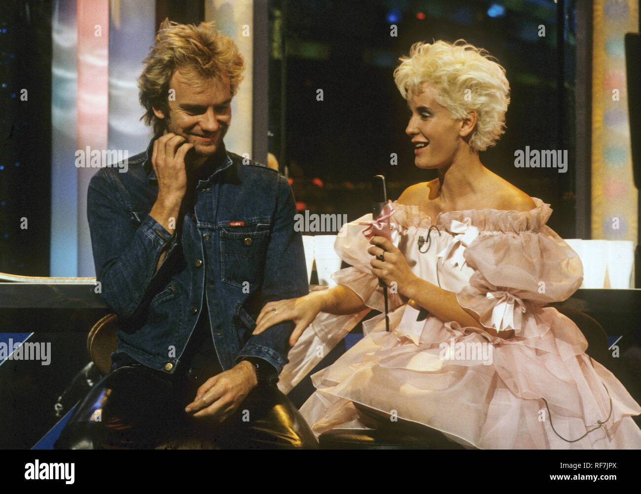 STING UK rock musician with presenter Paula Yates on The Tube TV show about 1984. - Stock Image