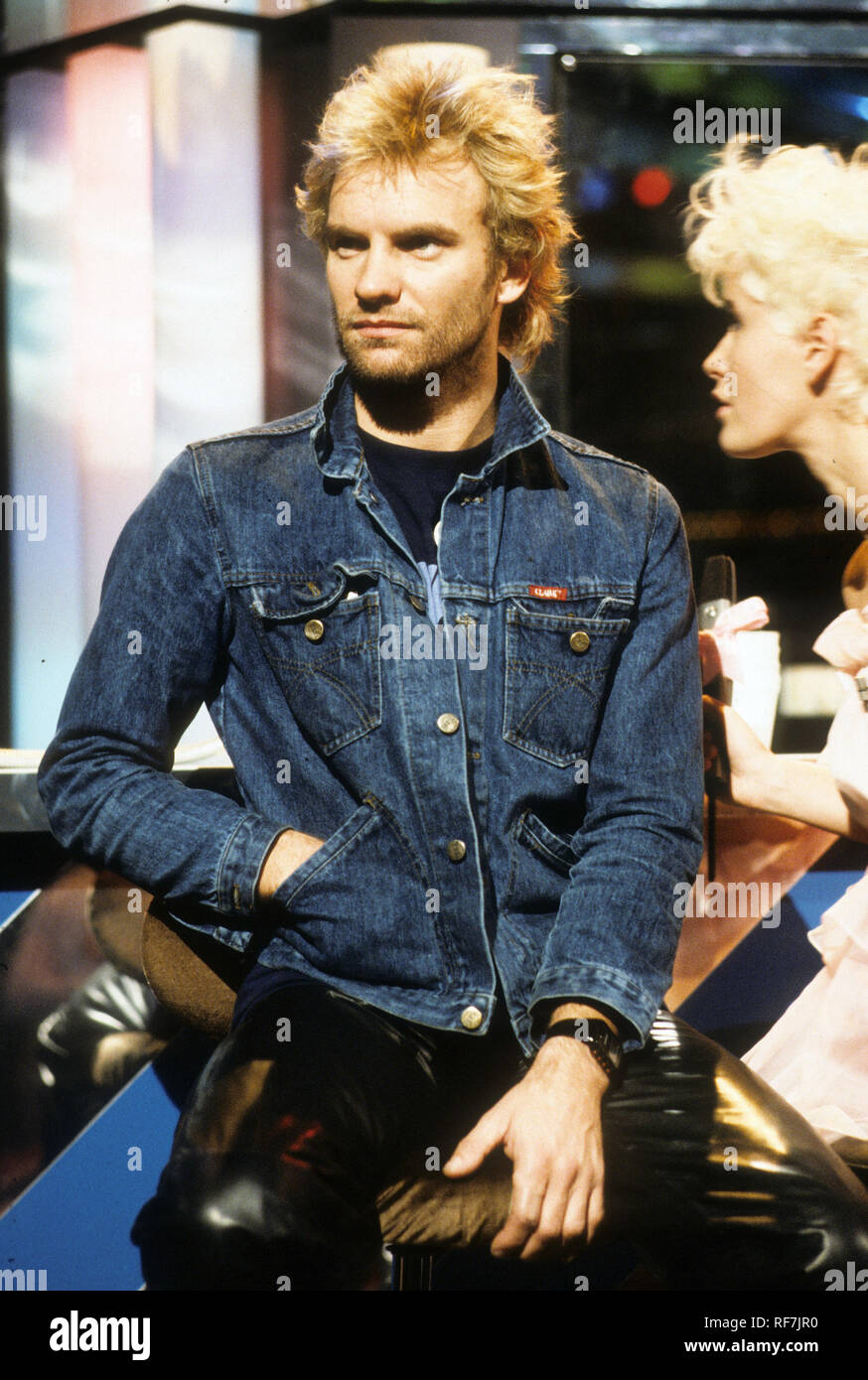 STING with Paula Yates on The Tube TV show about 1984 - Stock Image
