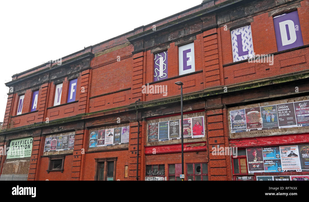 Disused Manchester Mayfield Station Building, Fairfield street, Piccadilly, Manchester, North West England, UK , M1 2QF - Stock Image