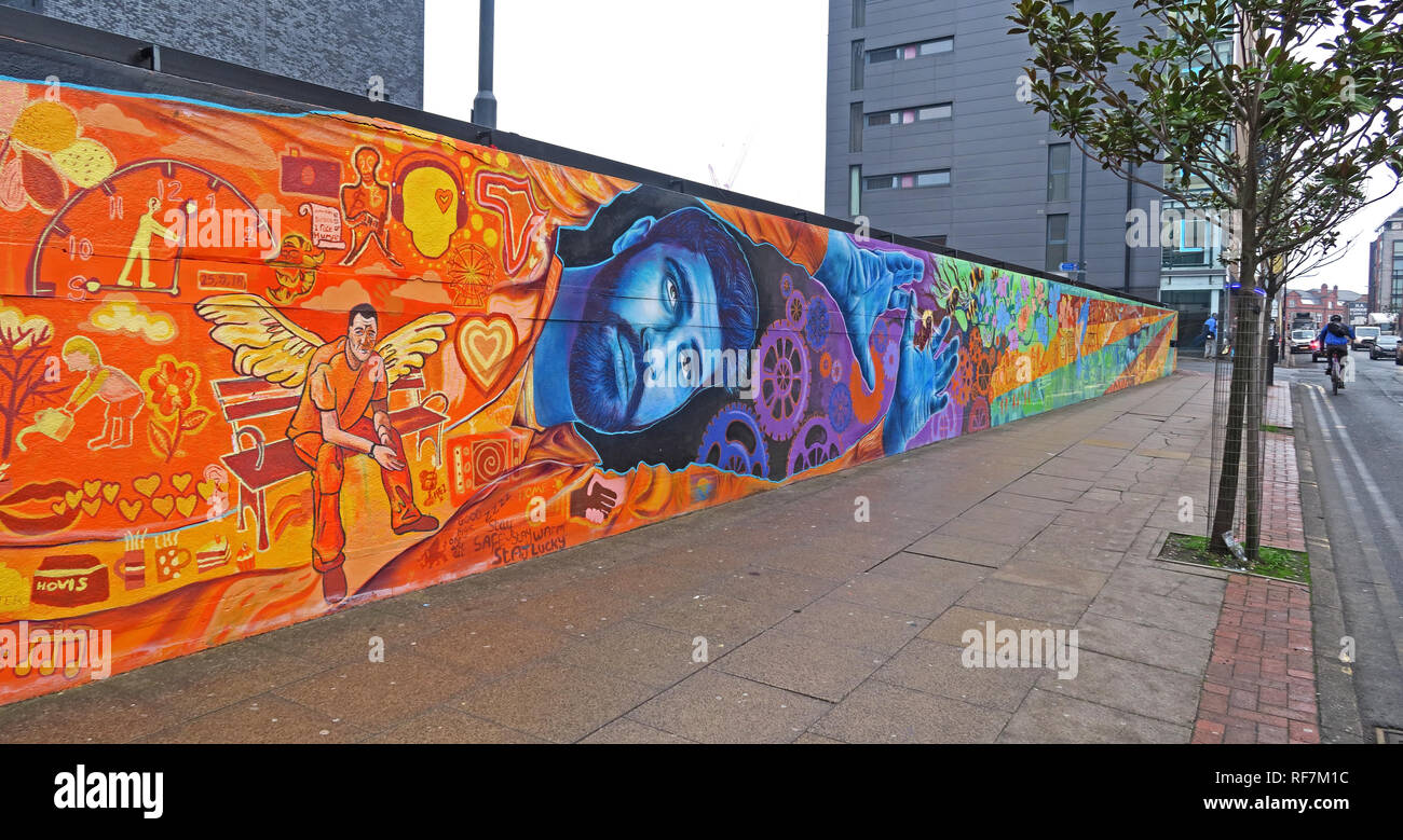 Doodle on Ducie Street / Store Street, by New York Street Artist, and Homeless Manchester Artists, near Piccadilly, UK, M1 2JQ - Stock Image