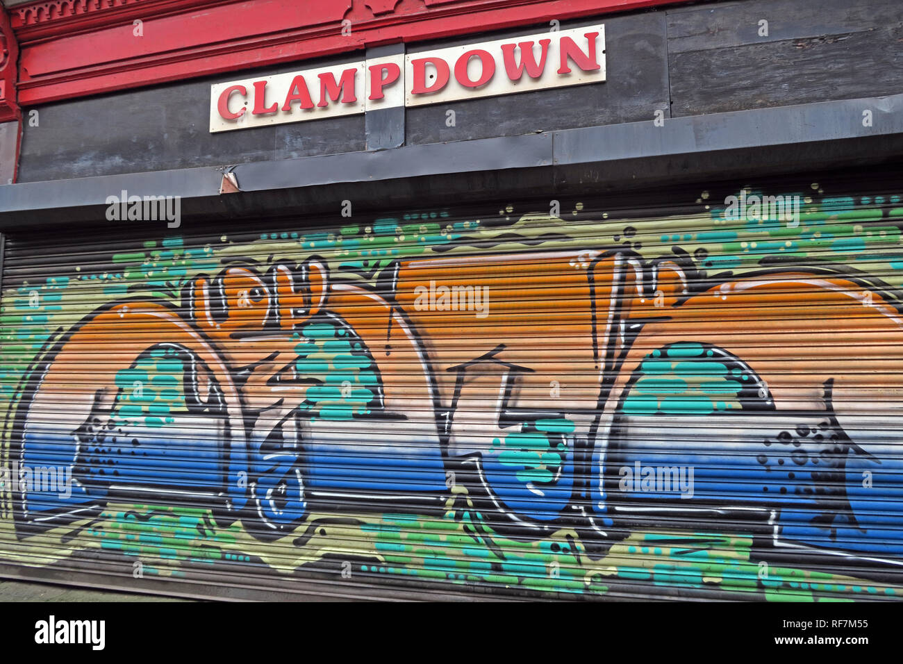 Old Records & Vinyl shop, Clampdown Records, Paton Street, Piccadilly, Northern Quarter, Manchester City Centre, North West England, UK - Stock Image