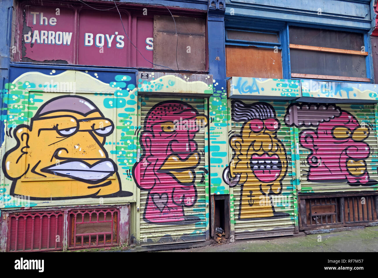 Derelict shop, The Barrow Boys Shop, Paton Street, Piccadilly, Northern Quarter, Manchester, North West England, UK, M1 2BA - Stock Image