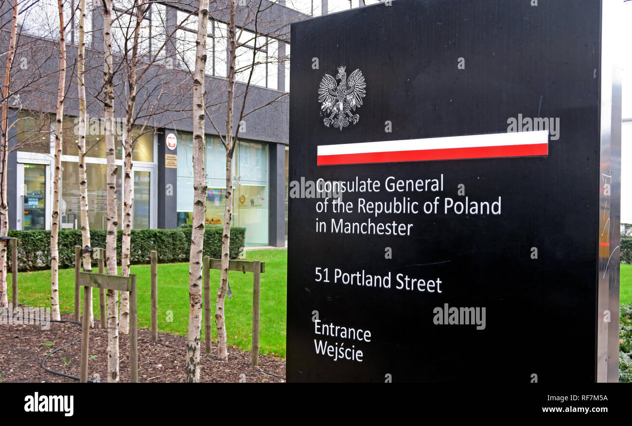 Consulate General office of the republic of Poland, 51 Portland Street, Manchester, UK,M1 3LD - Stock Image