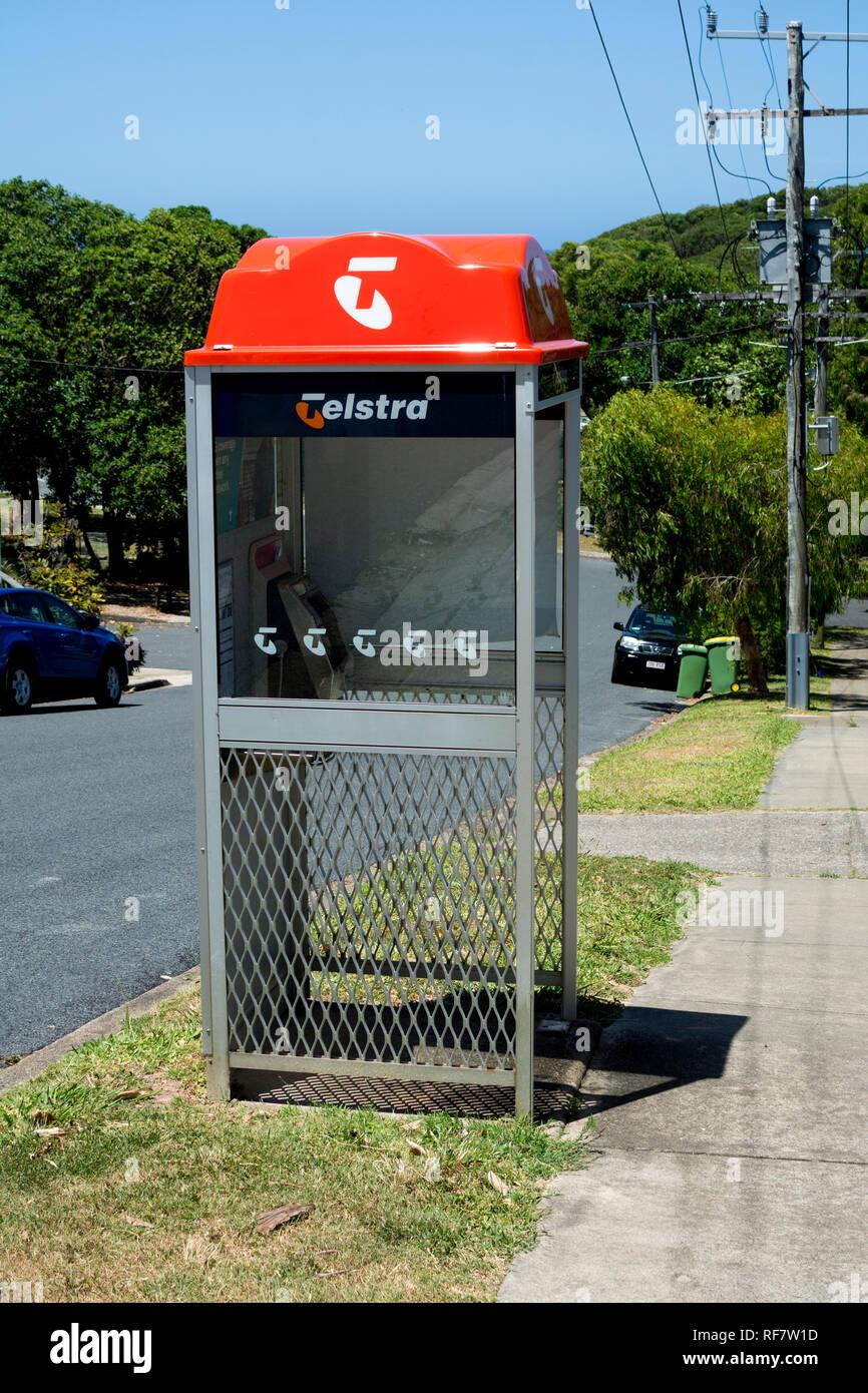 Telstra telephone kiosk, North Stradbroke Island, Queensland, Australia - Stock Image