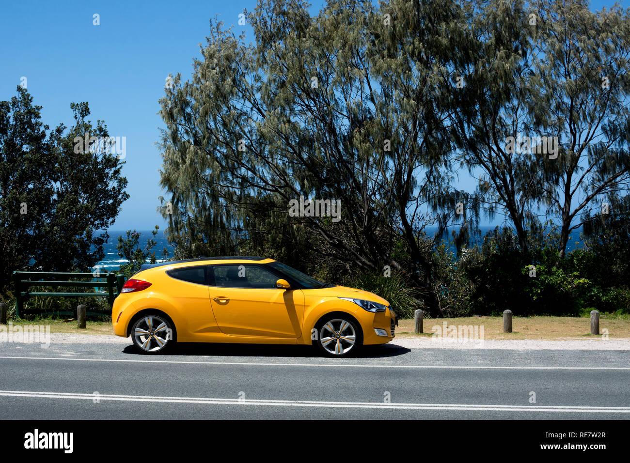 A Hyundai Veloster car, North Stradbroke Island, Queensland, Australia - Stock Image