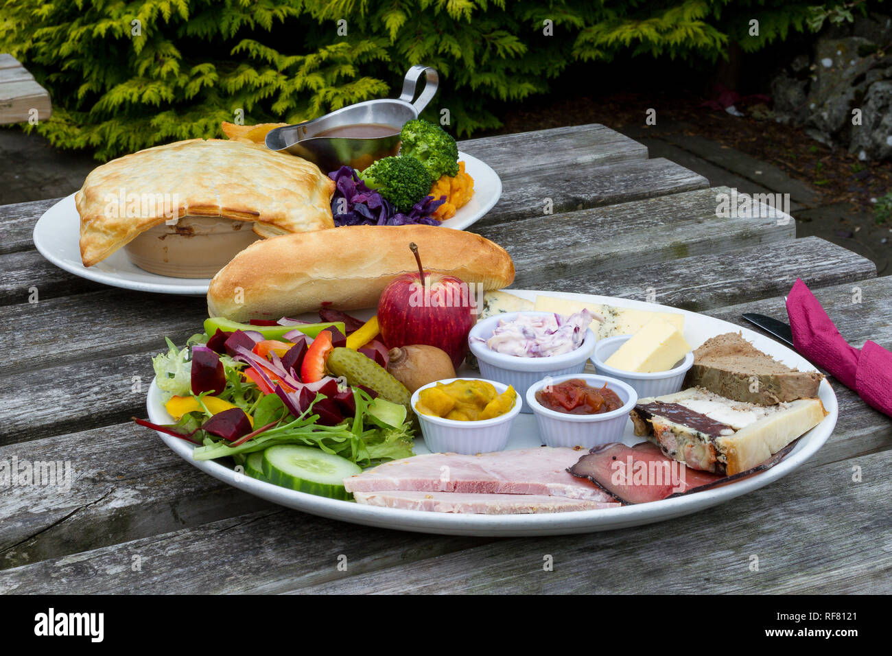Ploughman's Lunch with Pie and Chips - Stock Image