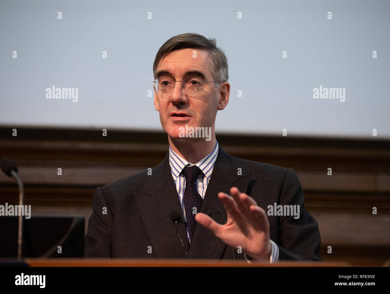 Jacob Rees-Mogg, who is a strong Leave campaigner, speaks at an event, organised by The Bruges Group,Jacob R about his plans for Britain after Brexit. - Stock Image