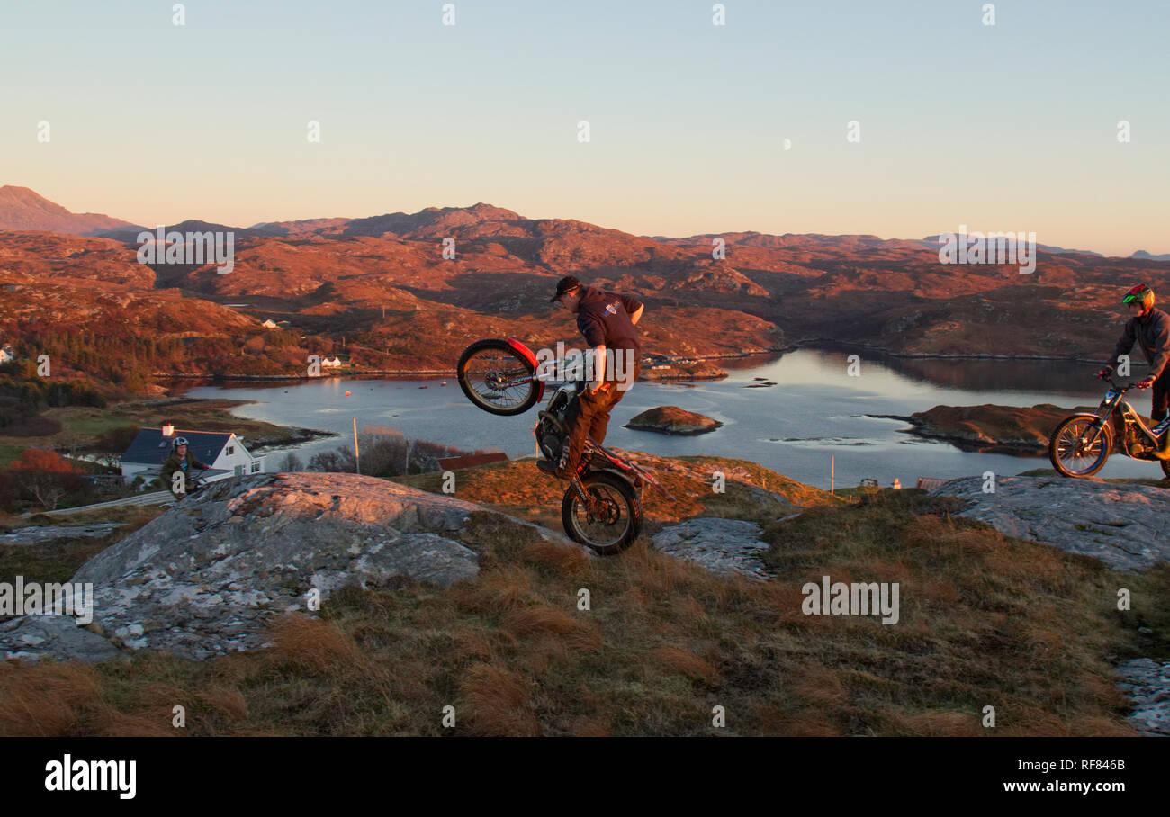 Motorcycle scrambling in Highland Scotland - Stock Image