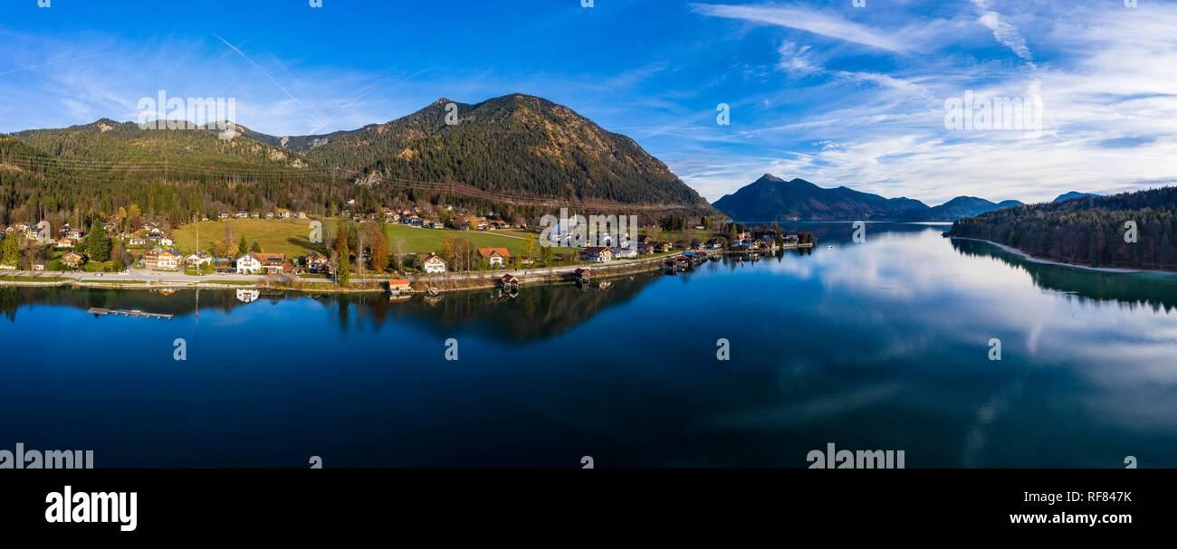 Drone shot, Kochel am See, Walchensee, Upper Bavaria, Bavaria, Germany - Stock Image