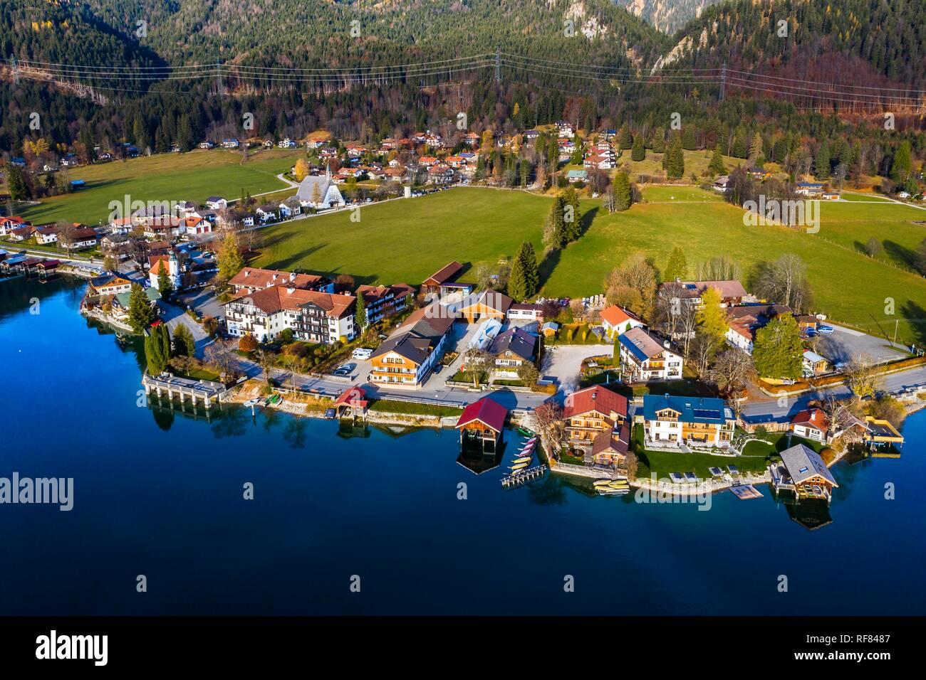 Drone shot, Walchensee, Upper Bavaria, Bavaria, Germany - Stock Image