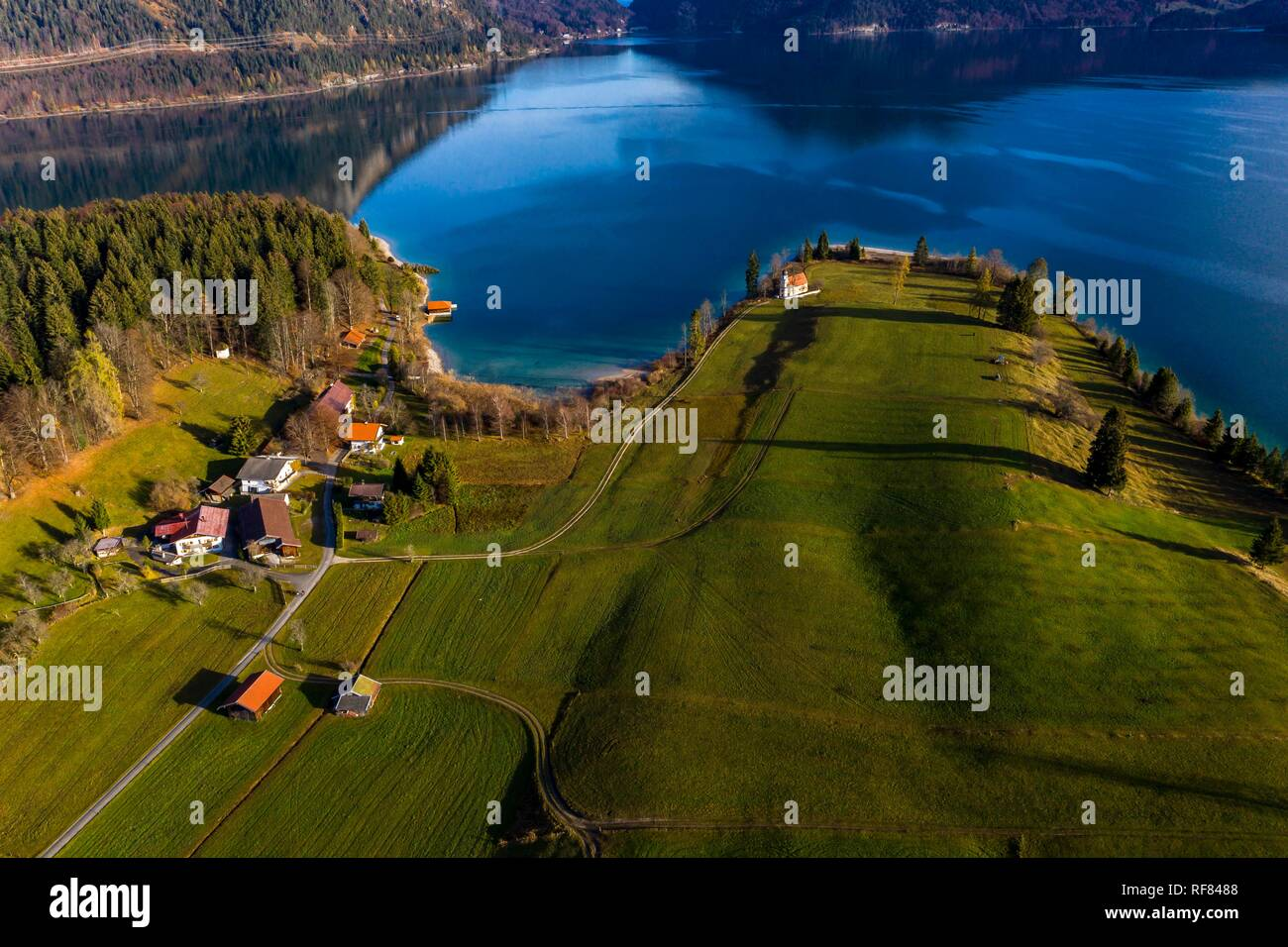 Drone shot, Walchensee, Upper Bavaria, Bavaria, Germany Stock Photo
