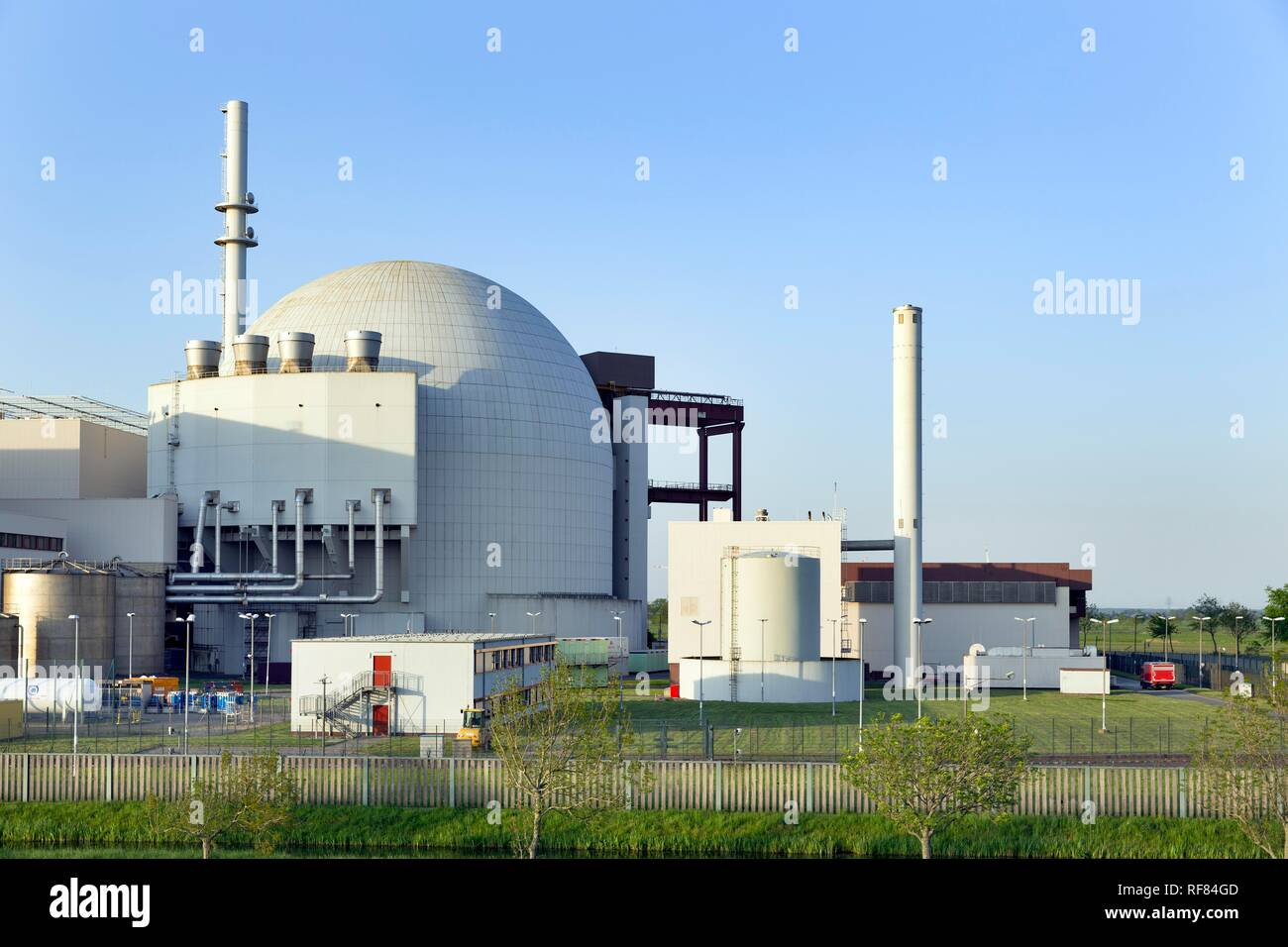 Brokdorf nuclear power plant, Brokdorf, district of Steinburg, Schleswig-Holstein, Germany - Stock Image